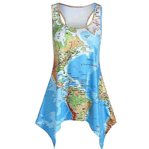 Makefortune  Womens Tank Tops Summer Sleeveless Crew Neck 2019 Newest World Map Printed Cami Swing Tunic Tops Pleated Tank Top Blouses with Asymmetrical Hem