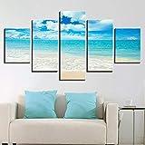 adgkitb canvas Stampe murali Immagine Ocean Paesaggio Cinque Pezzi Paesaggio Combinazione Decor Beach Vista Mare Casa Sfondo