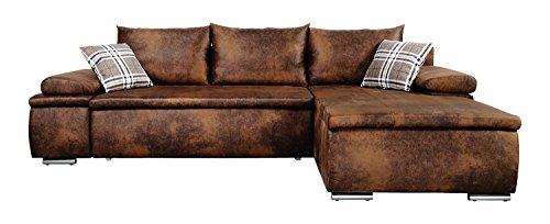 Mein Sofa CLVint Vintage Eckgarnitur Cali mit Schlaffunktion und Bettkasten, circa 274 x 85 x 180 cm - Sitzhöhe circa 42 cm, Kunstleder, Recamiere rechts oder links verwendbar