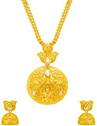 Voylla Traditional Alloy With Yellow Gold Plated Kundan Pendant Sets For Women