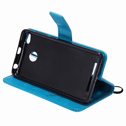 Custodia Xiaomi Rossomi 3s Cover Case, Ougger Fortunato Foglia Stampa Portafoglio PU Pelle Magnetico Stand Morbido Silicone Flip Bumper Protettivo Gomma Shell Borsa Custodie con Slot per Schede (Caffè Azzurro
