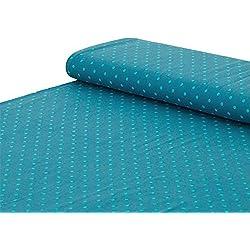 algodón de Punto con Lunares de Color Verde y Azul y Blanco, se Vende por Metros a Partir de 25 cm x 150 cm, Tela para Coser.