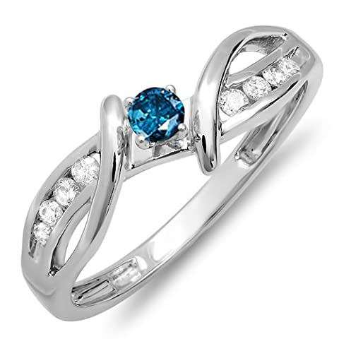 0.25 Carat (ctw) 18 ct White Gold Blue And White