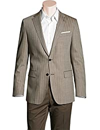 RENÉ LEZARD Herren Sakko Schurwolle Anzugjacke Gemustert, Größe: 50, Farbe: Braun