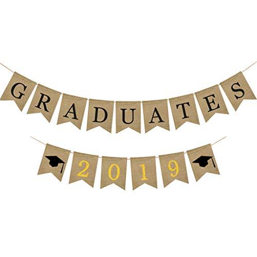 Nncande Abschlussfeier Geschenk - Graduation Bunting Banner - Graduates 2019 - Bunte Ammer Party Decor Banner Geburtstag Party Hintergrund Wandbild Poster Tapete Bar Fahne Graduation Bunting Deko -