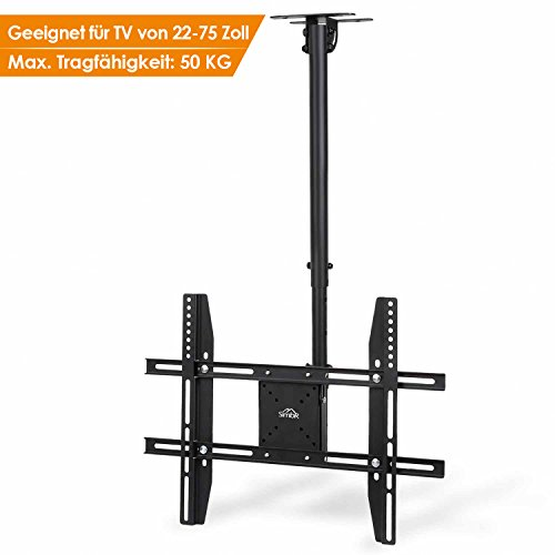 SIMBR TV Deckenhalterung Schwenkbar Neigbar VESA 600x400 an Flachdach oder Dachschrägen für LED LCD Plasma TVs von 22 bis 75 Zoll max. Tragegewicht 50kg