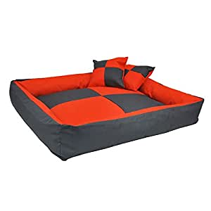 Panier corbeille pour chien Échiquier design et tendance XXL 120cm/95cm Orange et Gris W073 3