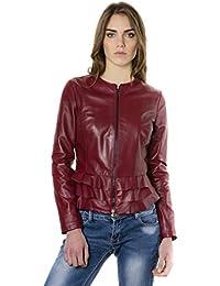 D'Arienzo - F105BL • colore bordeaux • giacca in pelle con balze nappa effetto liscio
