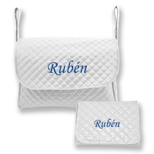 Preisvergleich Produktbild Meine Benutzerdefinierte Pipo–Set Handtasche und Wickelunterlage Baby weiß marineblau