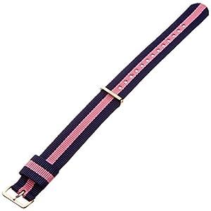 Daniel Wellington Damen Uhren-Armband Classic Winchester Natostrap blau pink Schliesse roségold DW00200033