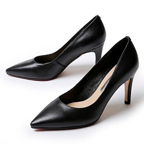 Fall of versione coreana delle scarpe a punta/Moda tacco alto/Discussione delle belle scarpe/Scarpe da sposa/ scarpe da lavoro-D Lunghezza piede=23.3CM(9.2Inch)