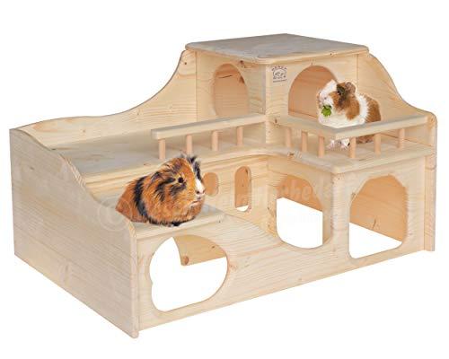 """Resch Nr35 Meerschweinchenschloss naturbelassenes Massivholz aus Fichte/Mit Zwei großen EIN-/Ausgängen im Erdgeschoss, die im inneren durch einen \""""Tunnel\"""" verbunden sind / 55 x 39 x 33 cm (LxBxH)"""