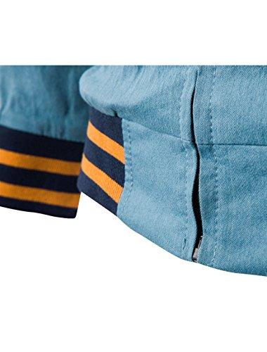 Allegra K Allegra K Herren Farbblock Gerippter Stehkragen Reißverschluss Leicht Jeans Jacke Blau
