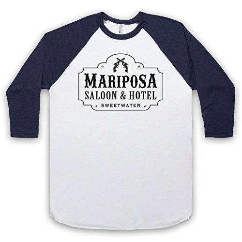 Inspiriert durch Westworld Mariposa Saloon & Hotel Inoffiziell 3/4 Hulse Retro Baseball T-Shirt Weis & Ultramarinblau