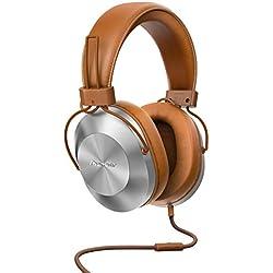 Pioneer SE-MS5T(T) Casque supra-auriculaire (Lecture audio haute résolution, kit mains libres, confortable, haute qualité sonore, pour Smartphone, tablette, système hifi, design aluminium), brun