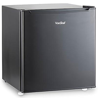 VonShef 47L Mini Fridge with Freezer Compartment - Table Top Fridge for Bedrooms with Reversible Door, Temperature Control & Door Storage - Black
