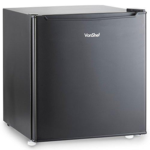 41mqlHMLZdL. SS500  - VonShef 47L Mini Fridge with Freezer Compartment - Table Top Fridge for Bedrooms with Reversible Door, Temperature Control & Door Storage - Black