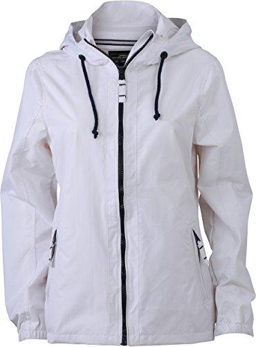JN1073 Damen Jacke Windjacke mit Kapuze wasserabweisend White/Navy