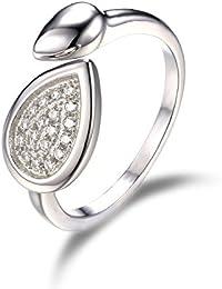 JewelryPalace Infinity Zirkonia Teardrop Band Ring Set Motivring Trauringe Damenring 925 Sterling Silber Größe 51 to 57