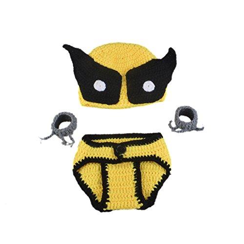 ENCOCO Foto-Requisiten für Neugeborene, handgefertigt, Häkel-Kostüm, niedliches schwarz-gelbes Mützen-Set für Jungen und Mädchen