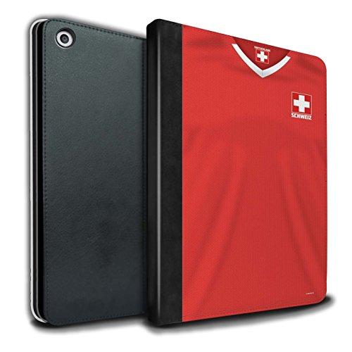 Stuff4® PU-Leder Hülle/Case/Brieftasche für Apple iPad 9.7 (2017) tablet/Schweiz/Schweizer Muster/Weltmeisterschaft 2018 Fußball Trikot Kollektion