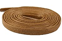 Flat Waxed Cotton Shoelaces Waterproof for Dress Shoes Boots Casual Shoes Sneaker by Santimon Light Brown 140 CM