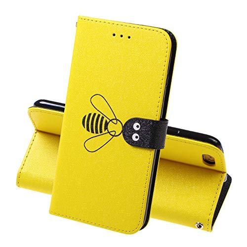 Miagon für iPhone 5 5S SE Flip Hülle,Süß Biene Seide Texturiert Wallet Case Handyhülle PU Leder Tasche Case Karten Steckplätzen Ständer Schutzhülle,Gelb (Iphone 5s Musik-handy-fälle)