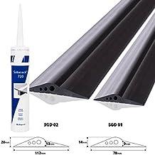 STEIGNER joint de porte de garage, colle y compris, joint d'étanchéité de sol en EPDM, 3m, 14mm x 78mm, SGD01