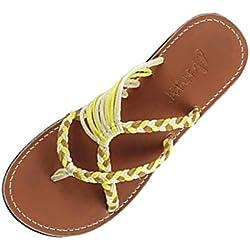 Sandalias para Mujer, Flip-Flop Chanclas Sandalia Plataforma Mujeres Planas Cuerda Verano Playa Plana Zapatos Romanos Beach 2019