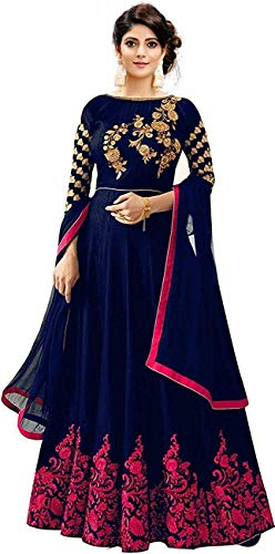 Smily Creation Women's Taffeta Silk Embroidered Long Anarkali Gown for Women (blue pink)