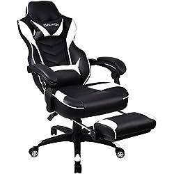 Racing Chaise de gaming-Cuir PU haute Dos ergonomique ordinateur vidéo Chaises de bureau avec repose-pieds et lombaire réglable et tête Coussin blanc