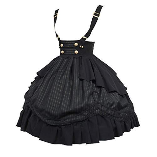 Damen Mittelalter Latzkleid Gothic Rockabilly Kurze Latz Kleid Halloween Lolita Maid Rollenspiel KostüM Rüschen Oktoberfest Faltenrock mit Trägern