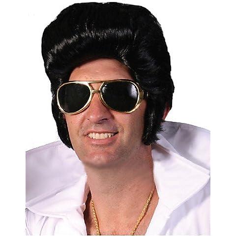 jfldma® Vendita diretta di fabbrica Elvis Presley parrucca vendita in grandi uomini neri di Parrucche brevi Alimentazione speciale Elvis Presley di