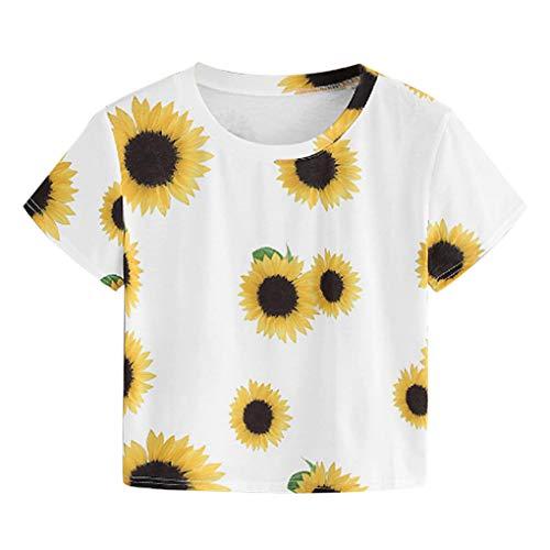 T-Shirt für Damen/Dorical Mädchen Sommer Rundkragen Kurzarm Shirts/Frauen Sonnenblume Drucken Kurz Top/Mode Oberteile Bluse Casual Kurzshirt Tunika Tops Hemd(Weiß,Large)