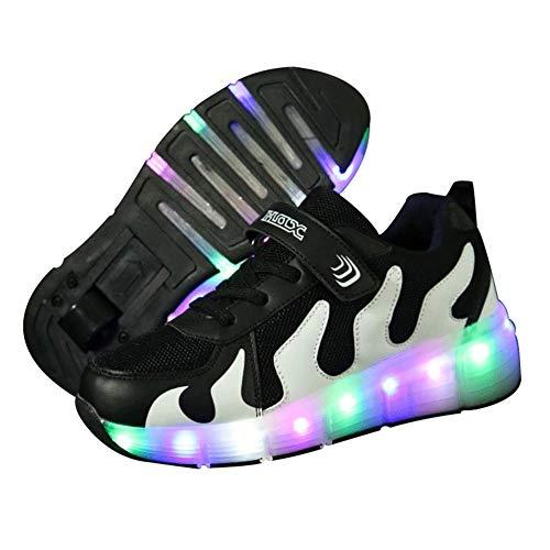 MNVOA Unisex Kinder Mode LED Schuhe mit Rollen Drucktaste Einstellbare Vibration Leuchten Skateboardschuhe Outdoor Gymnastik Turnschuhe Für Junge Mädchen,Black,41EU