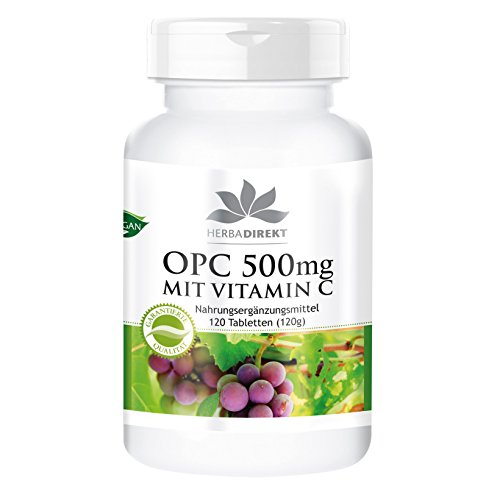 Herbadirekt - OPC 500mg MIT VITAMIN C - 120 vegane Tabletten