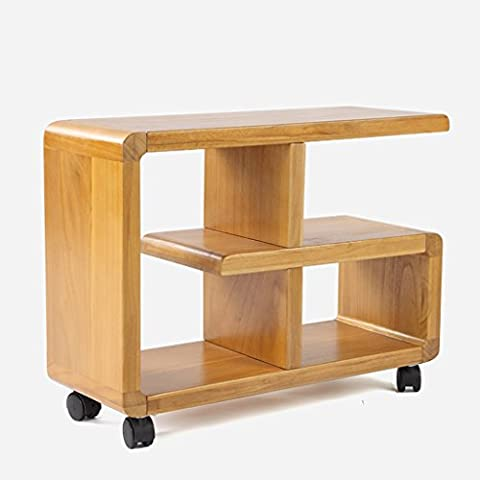 YJH+ Sofa Side A Few, Solid Wood Mobile Side Cabinet Shelf Tea Side Table Sofa Bookcase Living Room Corner Cabinet Angle Frame Whole Paulownia 60cm * 23cm * 45.5cm Beautiful and generous ( Color : A )