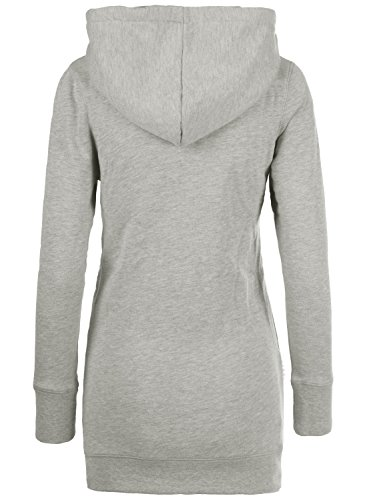 DESIRES Derby Long Damen Sweatjacke Zip Hoodie Kapuzenjacke Light Grey Melange