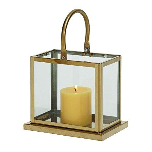 Deco 7970066Edelstahl und Glas Kerze Laterne, Golden/transparent (Gebogenes Laterne Glas)