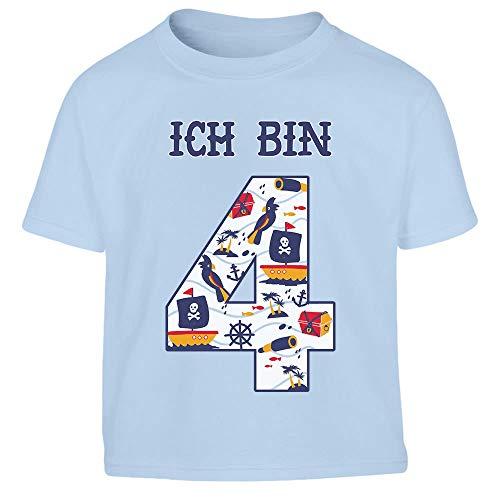 (Ich Bin 4 Junge Pirat Geburtstag Kleinkind Kinder T-Shirt - Gr. 86-116 96/104 (3-4J) Hellblau)