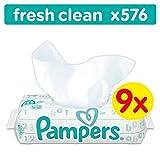 Pampers Fresh Clean Feuchttücher, 9Packungen, 576Feuchttücher