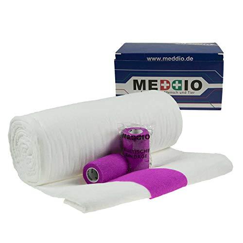 Mullwatterolle 40x500cm + 12 Haftbandagen 10cm purple Mull Kohäsive Fixierbinde -