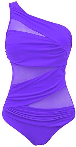 80cb16c1ee EUDOLAH Damen Sexy Uni Badeanzug Bandeau Figurformender Größe S-4XL (L