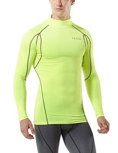 TM-MUT12-NEY_Medium Tesla Men's Mock Long-Sleeved T-Shirt Cool Dry Compression Baselayer MUT12