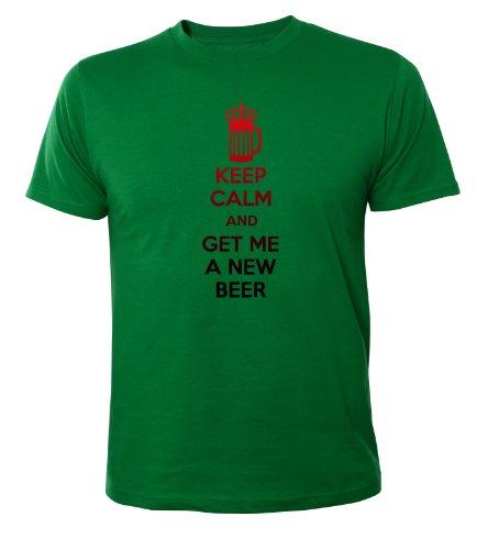 Mister Merchandise Cooles Fun T-Shirt Keep Calm and Get Me a New Beer Grün
