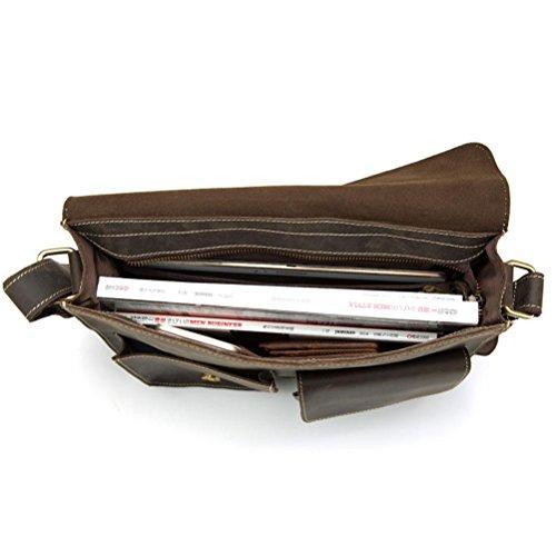 GTUKO Echtes Leder Herren Taschen Umhängetaschen Reißverschluss Vintage Umhängetasche Herren Schultertasche Aus Echtem Leder 1050 , Braun braun