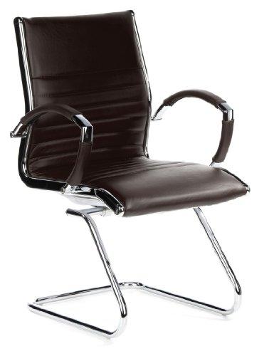 hjh OFFICE 660515 Konferenzstuhl Freischwinger PARMA V Leder braun chrom, Klassiker, ergonomisch...