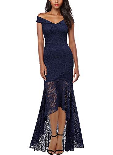Miusol Damen Elegant Spitzen Cocktailkleid Schulterfrei Lange Asymmetric Maxi Abendkleider Navy Blau M