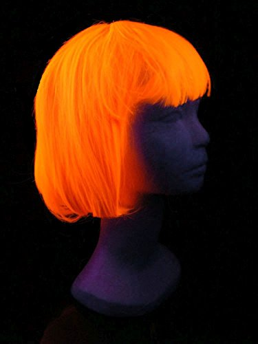 Schwarzlicht Perücke Bob Glatt mit Pony Neon Orange