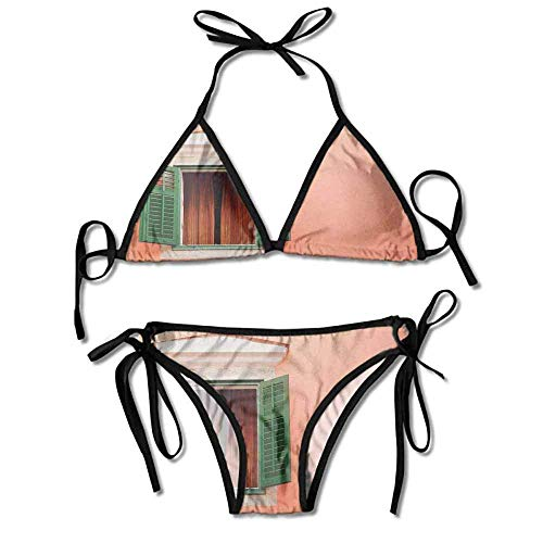 Bikini Swimsuit 2 Pieces Set,Window and Shutters Old Sexy Bikini 2 Pieces -